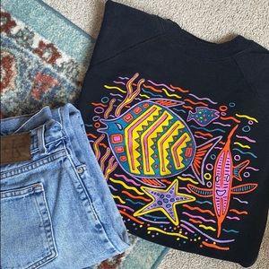 Vintage Neon Fish Crewneck Sweatshirt